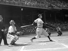 "Photo of Hank Greenberg hitting a home run, from ""Chasing Dreams"" at Skirball Cultural Center"