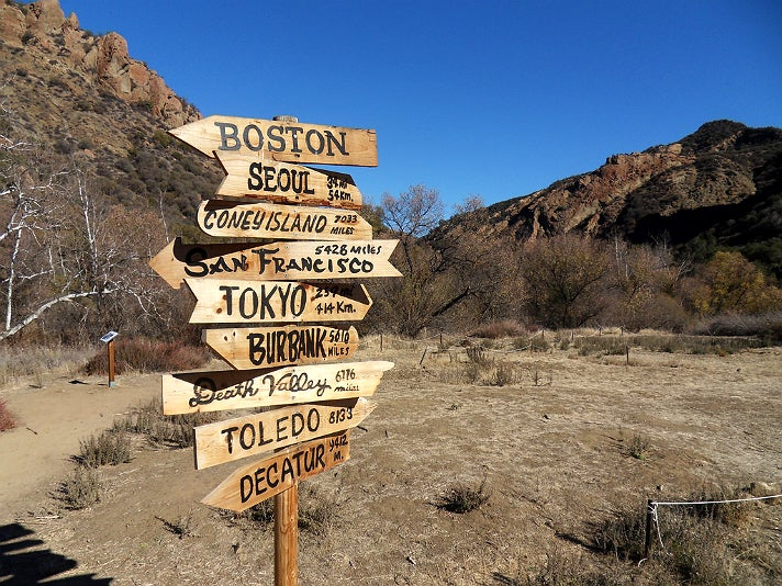 Crossroads sign at the M*A*S*H* site in Malibu Creek State Park