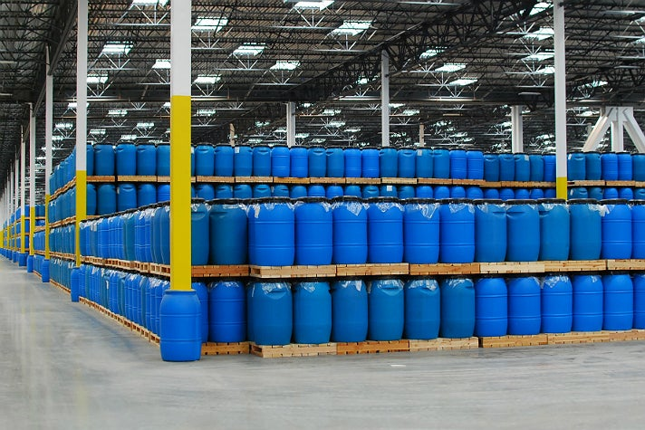 Base sauce stored in 55-gallon drums at Huy Fong Foods
