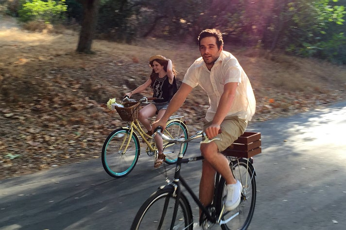 Biking on Crystal Springs Drive in Griffith Park