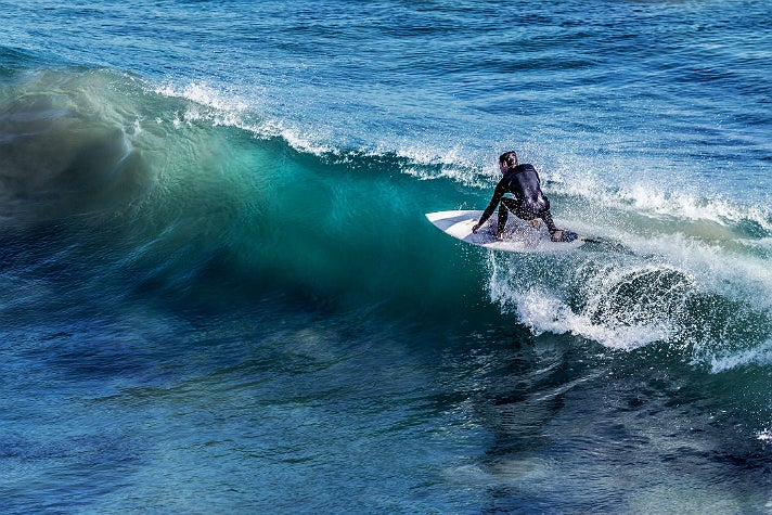 Surfer at Surfrider Beach in Malibu