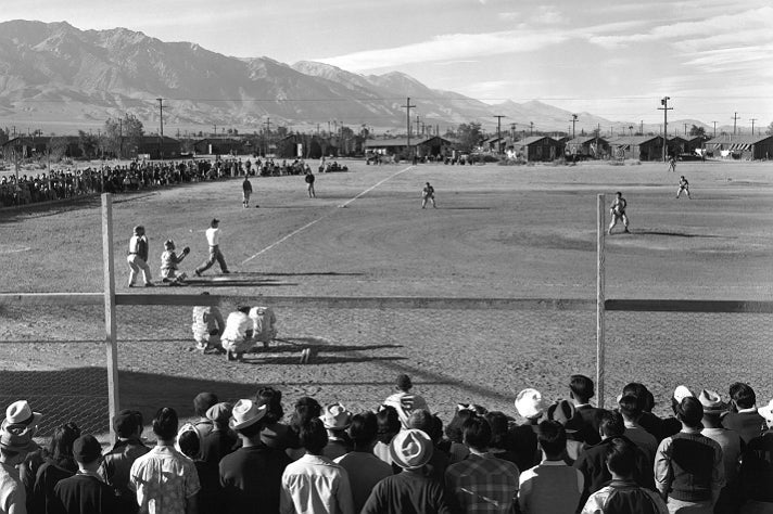 """Ansel Adams, """"Baseball,"""" 1943 [detail]. Gelatin silver print (printed 1984). Private collection; courtesy of Photographic Traveling Exhibitions."""