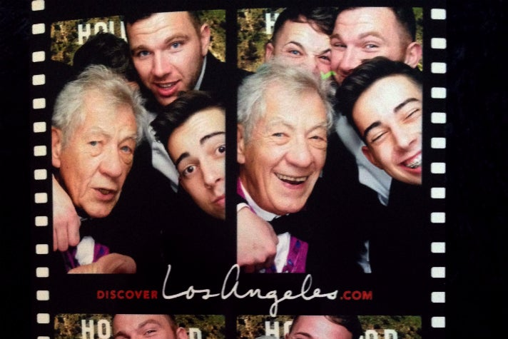 Sir Ian McKellen and friends having fun in the Discover Los Angeles photo booth at the 2015 Attitude Awards.