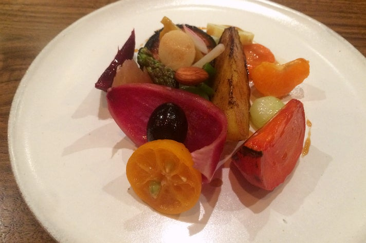 """Veggie and fruit plate"" at Le Comptoir"