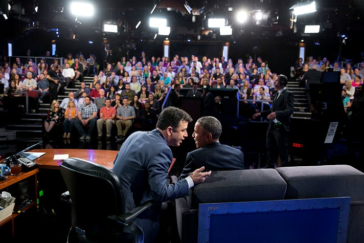 """President Barack Obama and Jimmy Kimmel on the set of """"Jimmy Kimmel Live!"""" in Hollywood, March 12, 2015"""