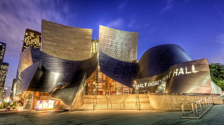 Walt Disney Concert Hall at night