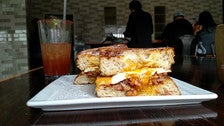 French toast breakfast sandwich at Eagle Rock Brewery Public House
