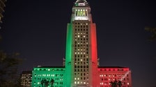 Los Angeles City Hall with colors of the Italian flag