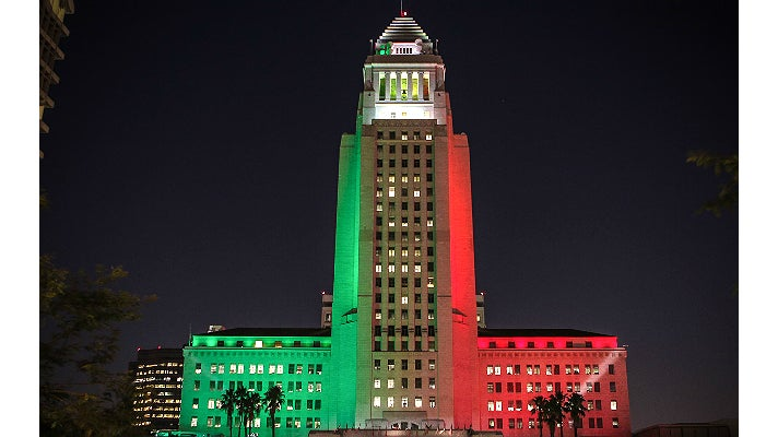 City Hall with colors of the Italian flag
