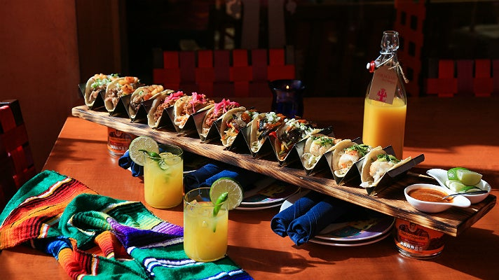 Three Feet of Tacos and bottled Spicy Pineapple Margaritas at Rosa Mexicano
