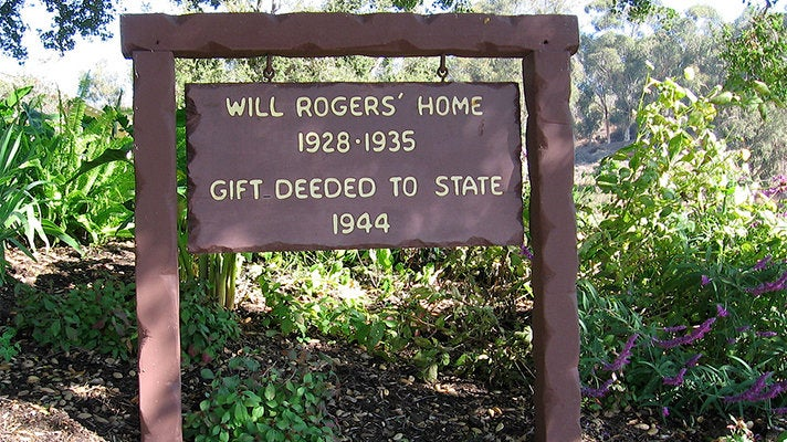 Will Rogers State Park sign