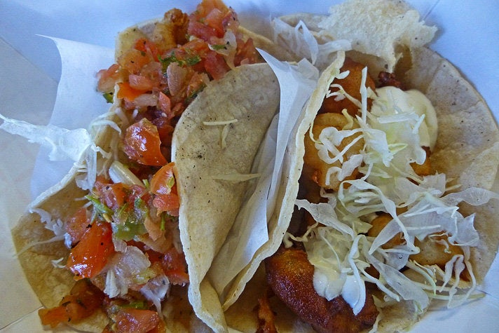Fish and shrimp tacos at Best Fish Taco in Ensenada