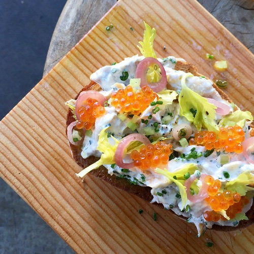 Smoked trout toast at Blacktop Coffee