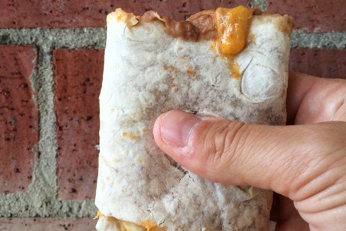 Bean and cheese burrito with red sauce at Al & Bea's